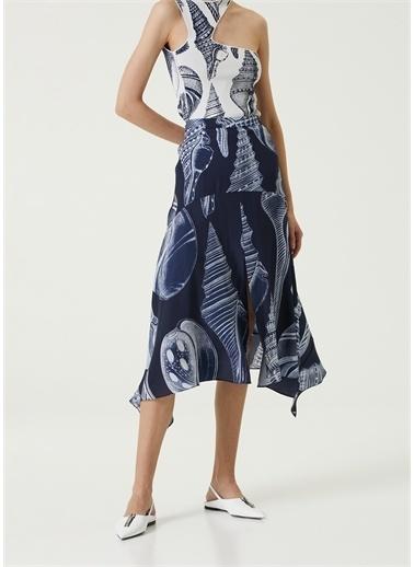 Stella McCartney Stella McCartney 101627168 Boğaz Detaylı YırtmaÇlı Renkli Kadın Elbise Mavi